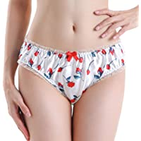 Satini Dames Bloemen Satijn Lingerie Bikini Broekje Broekjes Knickers