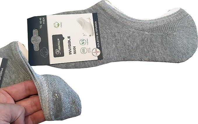 4 Paia di Calzini Fantasmini Uomo Donna Sneaker Calze Invisibili in Cotone e Spugna di Cotone Antiscivolo