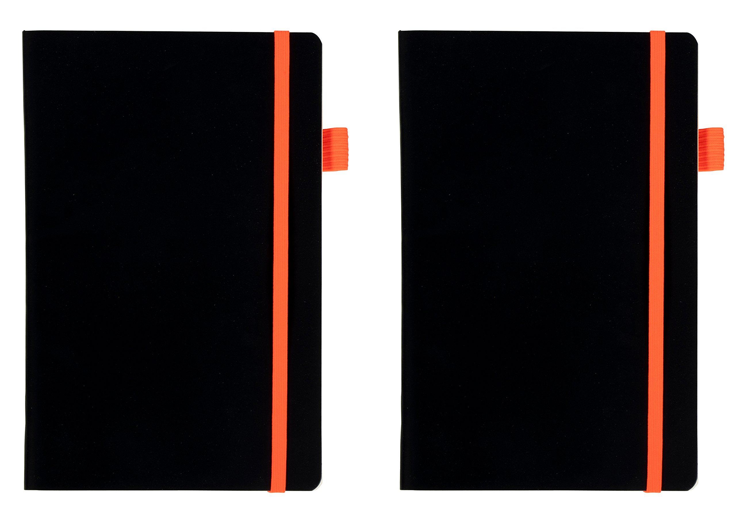 Leather Notebooks- 2-Pack Professional Black Lined Notebooks with Elastic Strap, Travel Journals, Diary, Notepad for Office, School, Students, Black Leather Soft Cover, 80 Sheets, 5.25 x 8.25 Inches