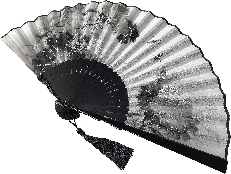 Fansof.fans Ink Art palmare ventilatore con una scatola e un sacchetto per donne uomini bambina nero e bianco con argento touch Up durevole pieghevole ventaglio tessuto di seta Bamboo Flowers Ia02
