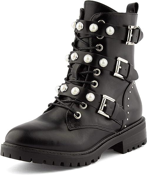 Damen Stiefeletten Chelsea Boots Gefütterte Booties Ketten 832012 Schuhe