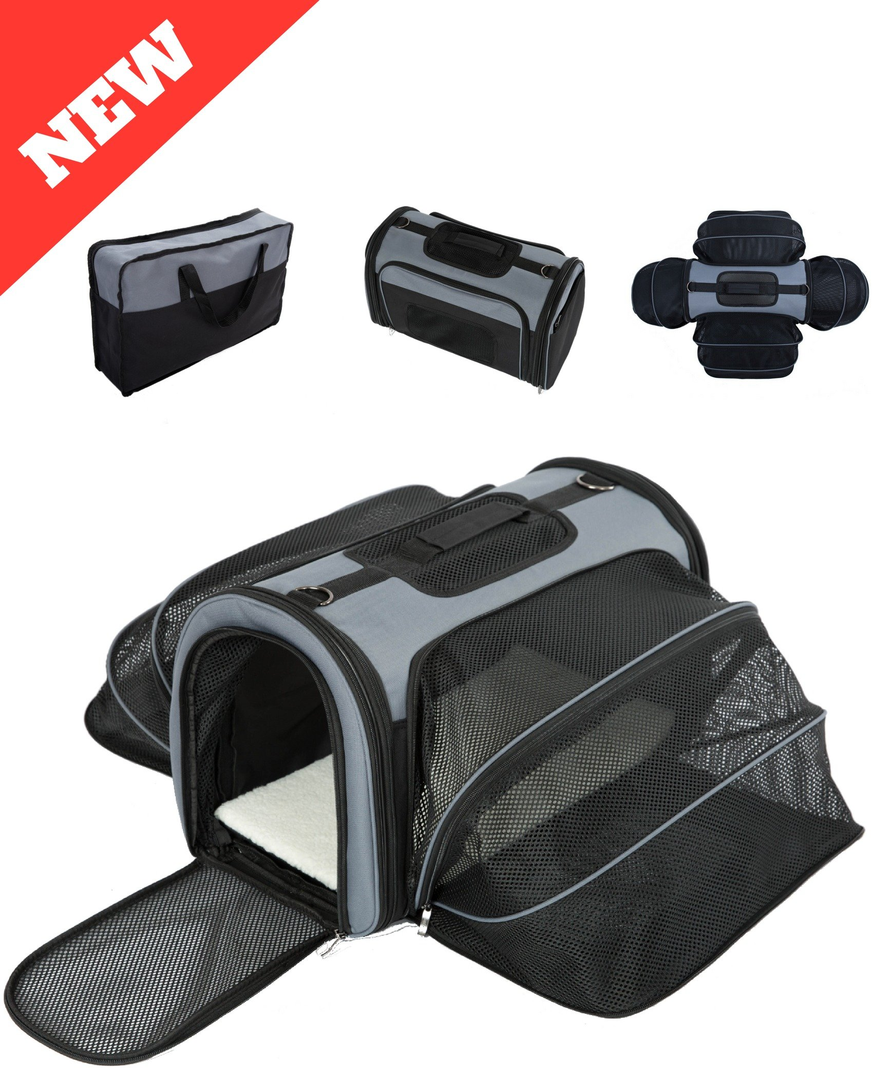 4 Way Expandable Soft Sided Airline Approved Pet Carrier for Cats and Dogs   Folding for Easy Transport   For Air or Car Travel, Meets Most Under Seat Requirements   Large Size by Smiling Paws Pets