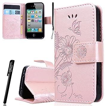 37ef6a9967d WE LOVE CASE Funda iphone 4 / 4S Original, Piel con Tapa y Cartera Carcasa  Flip caso de ...