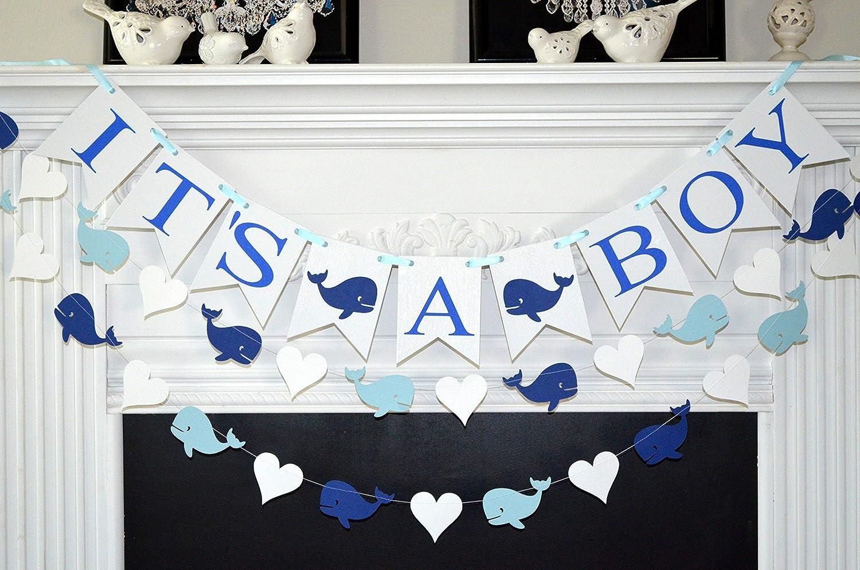 Amazon.com: It's a boy banner, whale baby shower banner, whale decorations  for boy baby shower: Handmade