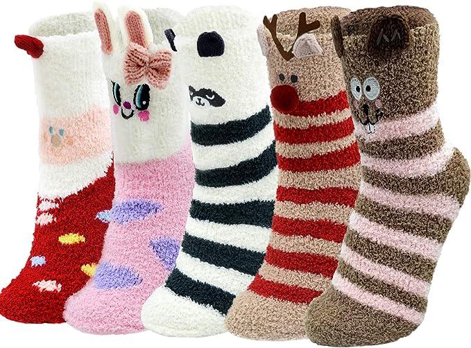 Girls Socks Mid-Calf Hello Panda Winter Warmth Unique For Decor