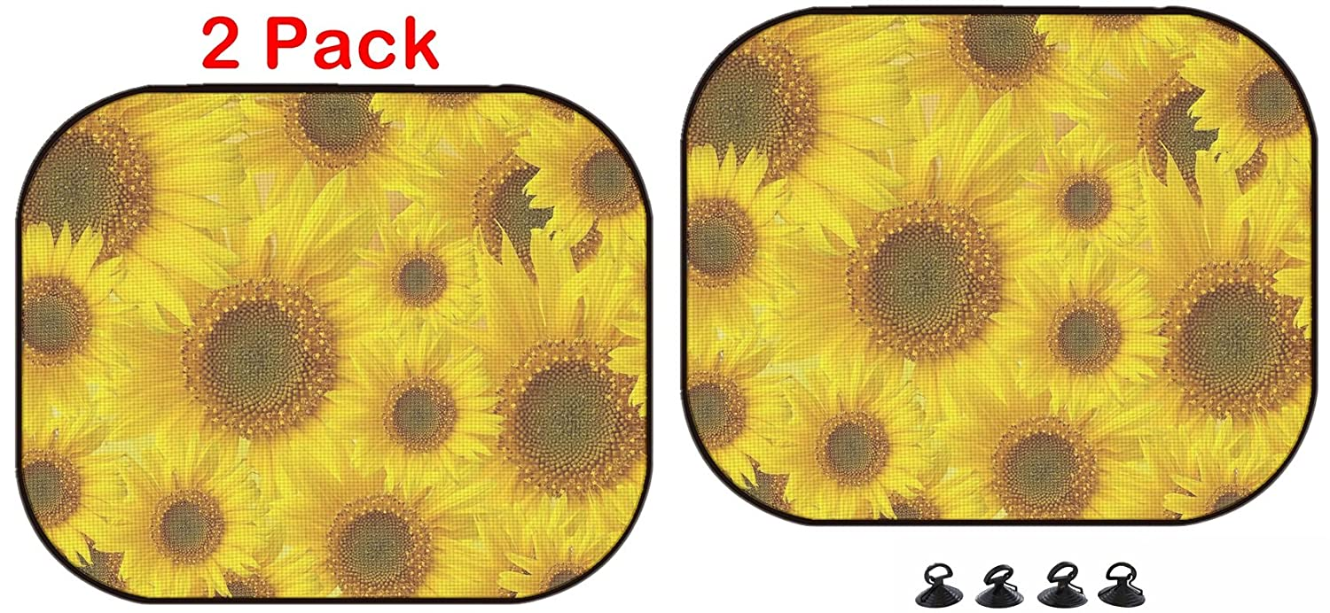 Luxlady Car Sun Shade Protector Block Damaging UV Rays Sunlight Heat for All Vehicles, 2 Pack Image ID: 29660274 Sunflowers Patterned Background Luxlady Inc.
