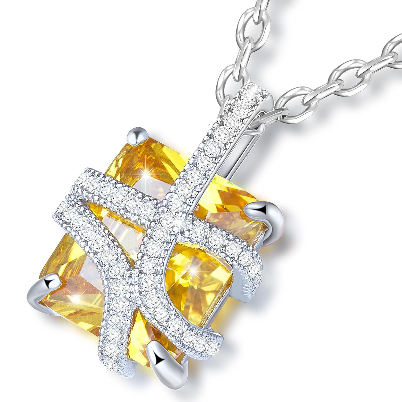 Dawanza Regalos Navidad Collar Mujer Oro Plateado Zirconia Cúbica Amarillo con Colgantes