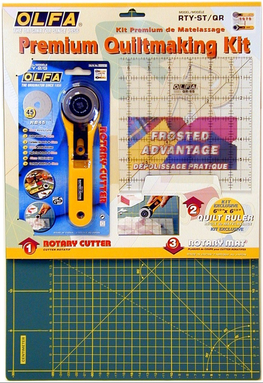 Olfa Rty-St/Cg 45mm Rotary Cutter/Self Healing Mat/Quilt Ruler Making Set OLFA63281