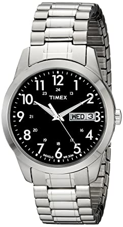 Timex Men s T2M932 South Street Sport Black Silver-Tone Stainless Steel  Expansion Band Watch 47293dc3602