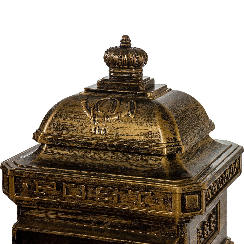 Maxstore Antiker englischer Standbriefkasten 3 Jahre Garantie Farbe: Gr/ün rostfreies Aluminium H/öhe: 102,5 cm