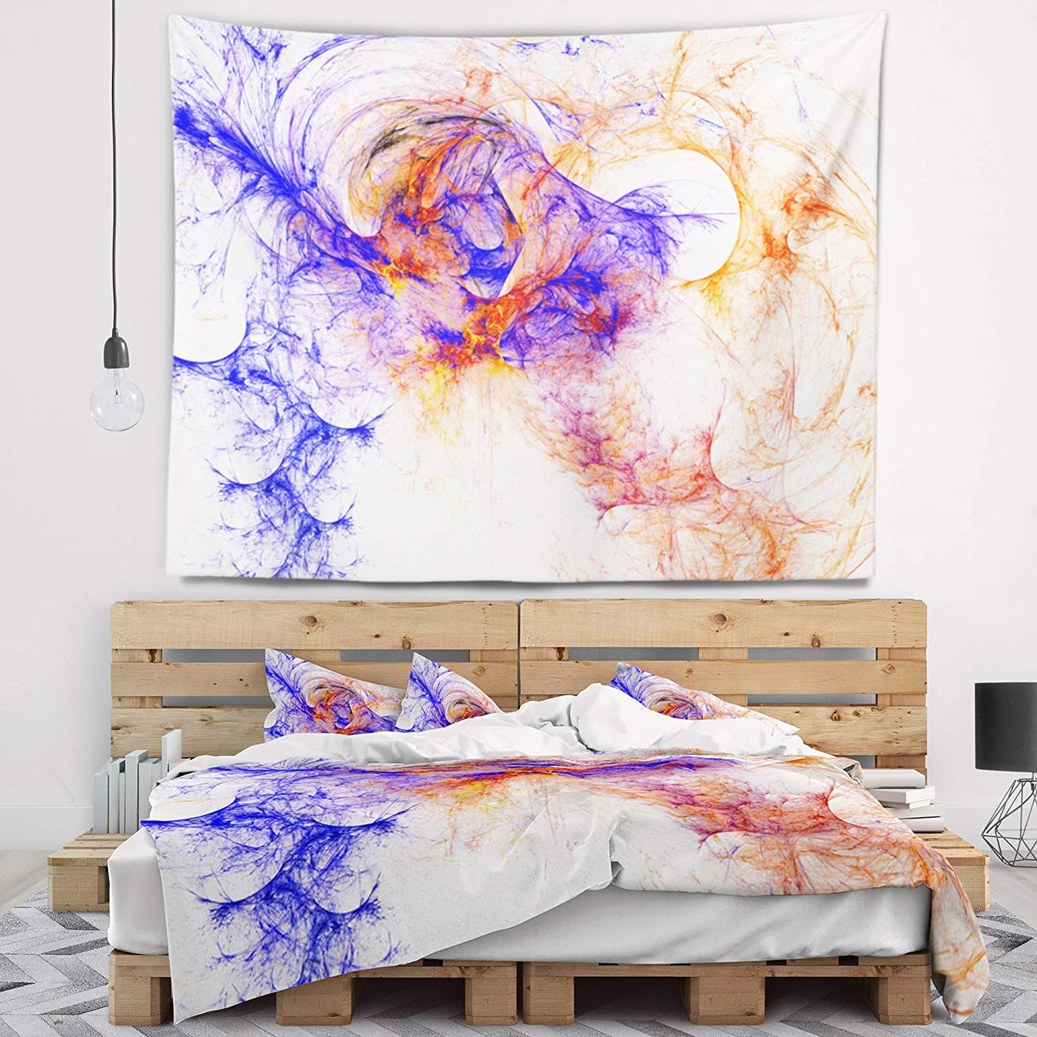 Designart TAP8025-39-32  Wings of Angels Blue Abstract Blanket D/écor Art for Home and Office Wall Tapestry Medium Created On Lightweight Polyester Fabric 39 in x 32 in