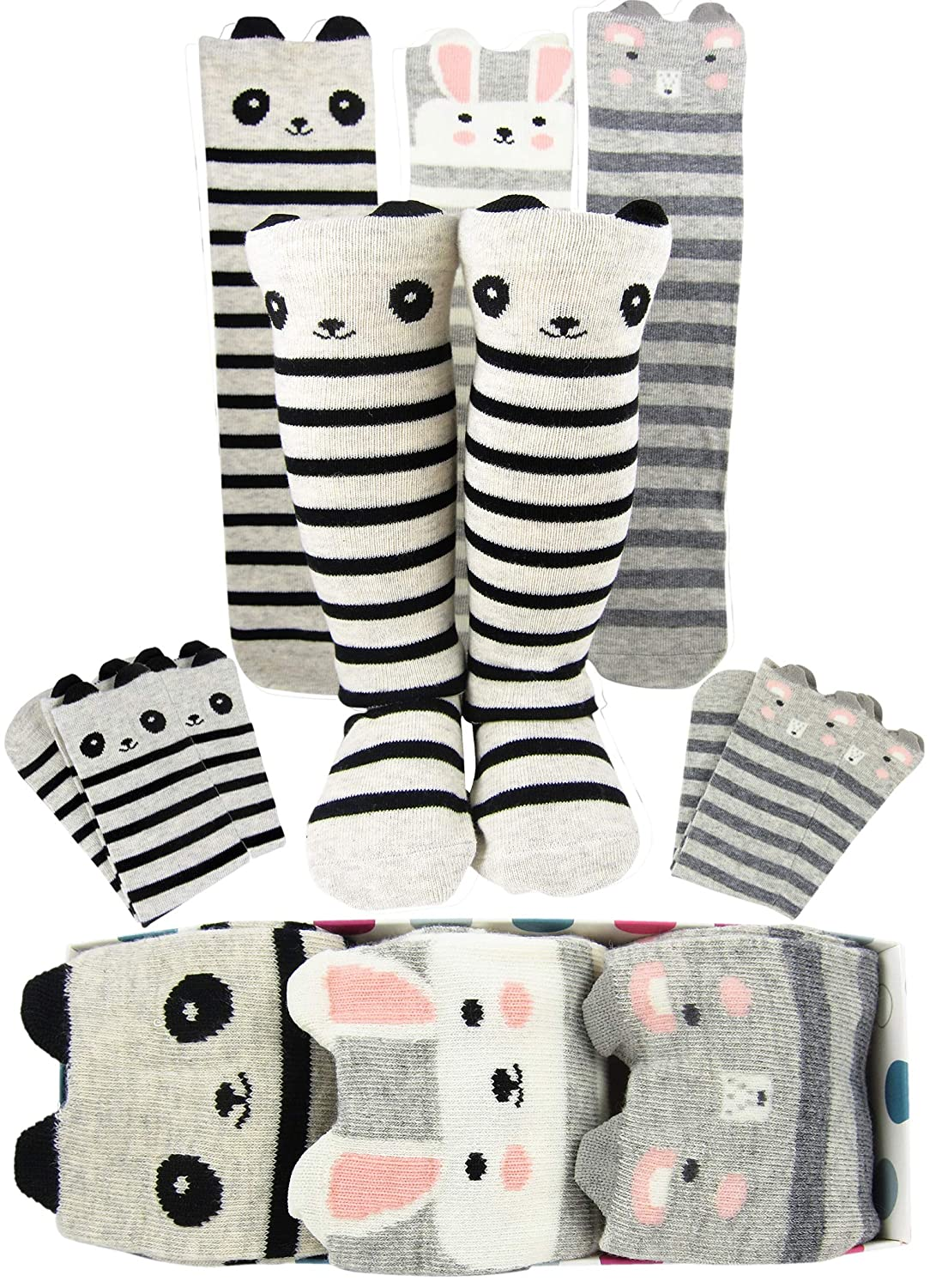 e3ca2669396 Amazon.com  Girls Knee High Long Socks Gift For 3-8 Year Old Girl Warm  Animal Cat Fox Bear From Tiny Captain  Clothing