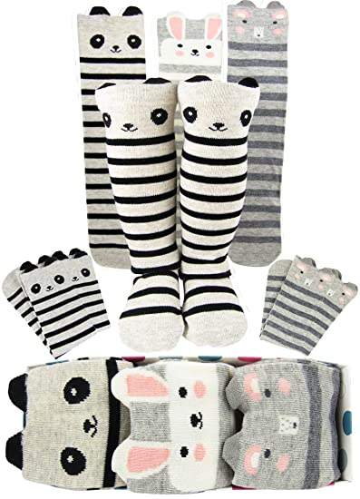 2c812a4c050 Amazon.com  Girls Knee High Long Socks Gift For 3-8 Year Old Girl ...
