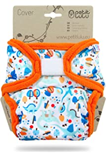 Newborn 4.4-13.2 lbs Washable Diaper Wrap Rainbow Stars Reusable Cloth Nappies Made in Europe | Hook /& Loop Petit Lulu Cloth Nappy Cover