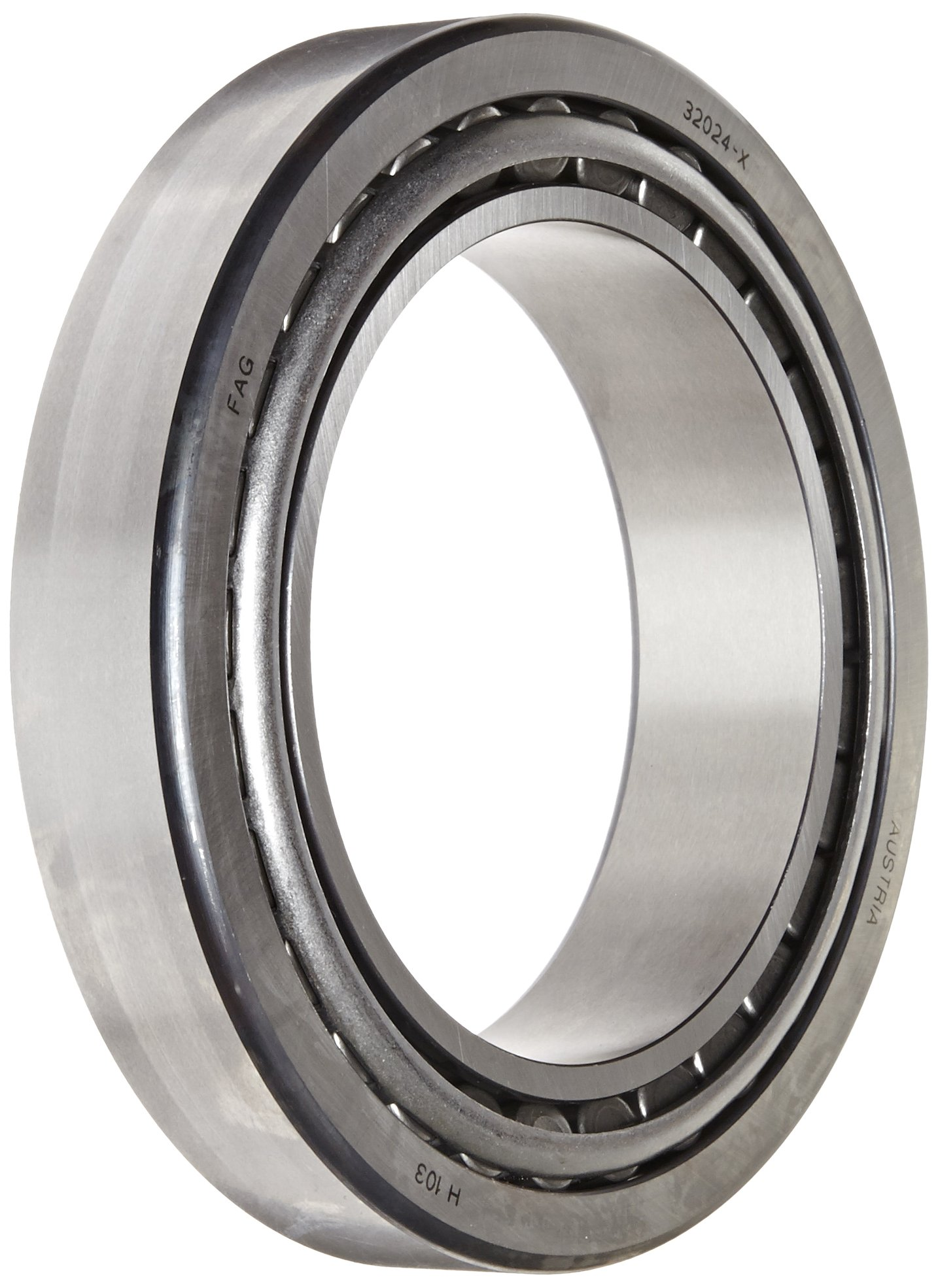 FAG 32024X Tapered Roller Bearing Cone and Cup Set, Standard Tolerance, Metric, 120 mm ID, 180mm OD, 38mm Width, 3600rpm Maximum Rotational Speed