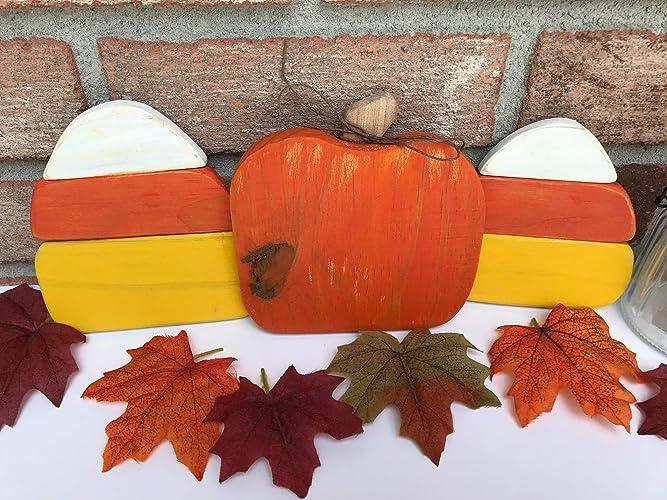 wooden candy cornwooden pumpkin fall decor wooden fall decoration halloween decor