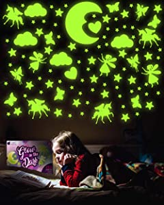 PURPLE LADYBUG 132 Pieces of Glow in The Dark Stars, Unicorns, Fairies, Butterflies, & More - No Mess Ceiling & Wall Décor for Kids Room, Great Decorations for Little Girls Bedroom & as Girl Gifts