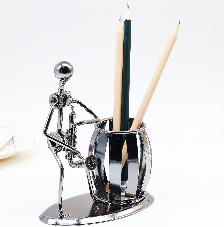 Saxophone Office Desktop Accessories Metal Pencil Pen Holder Organizer Container Room Decoration