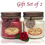 Romantic Jar Candles Scented Set of 2 - Soy Wax Blend- Fragrant, Romantic Rose & Lava Lovin' -Tropical Citrus- Best Gift Idea for Anniversary or Valentines Day - Made in USA by Way Out West Candles