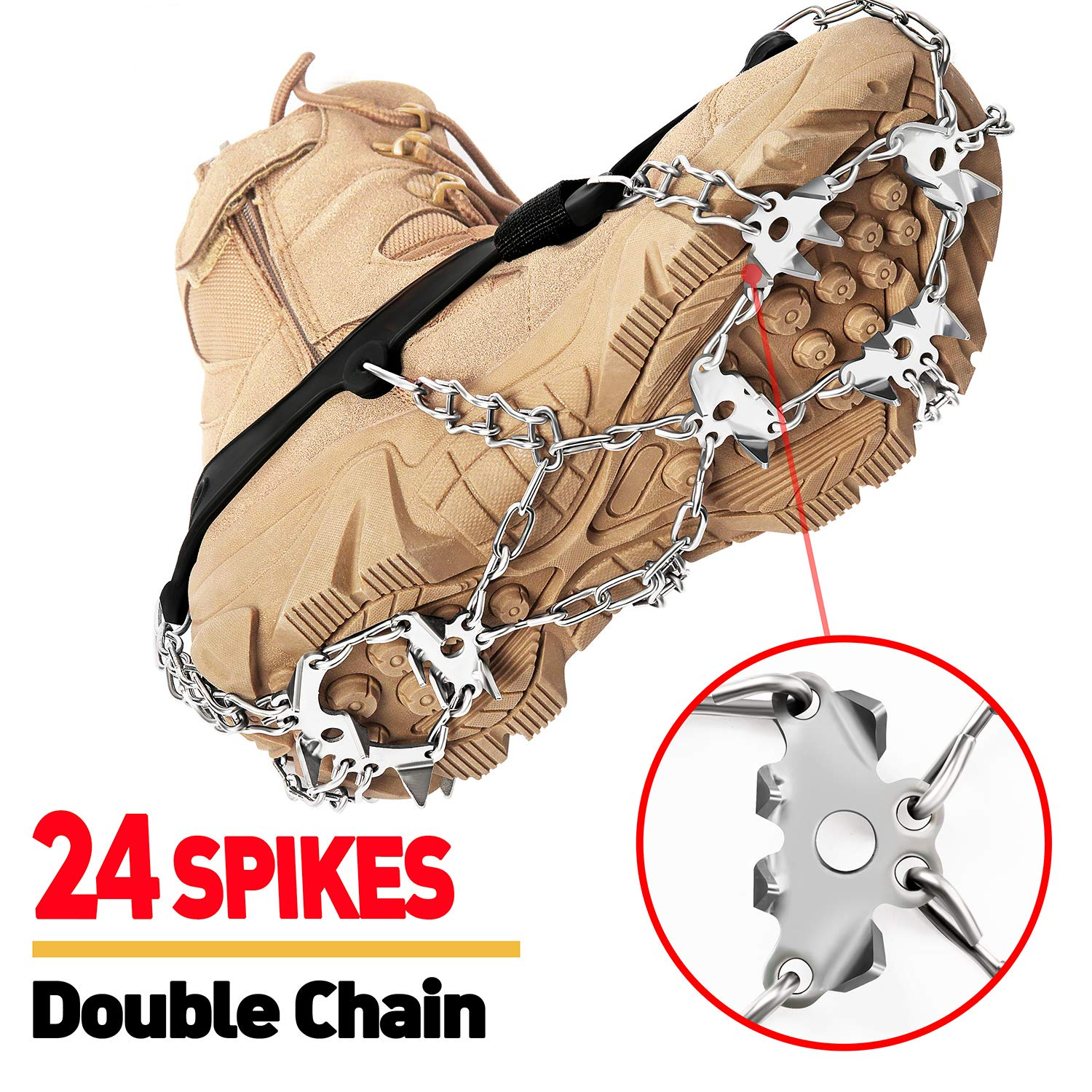 EnergeticSky 24 Spikes Crampons Ice Cleats Traction Snow Grips for Boots Shoes,Anti-Slip Stainless Steel Spikes,Microspikes for Hiking Fishing Walking Climbing Jogging Mountaineering. by EnergeticSky