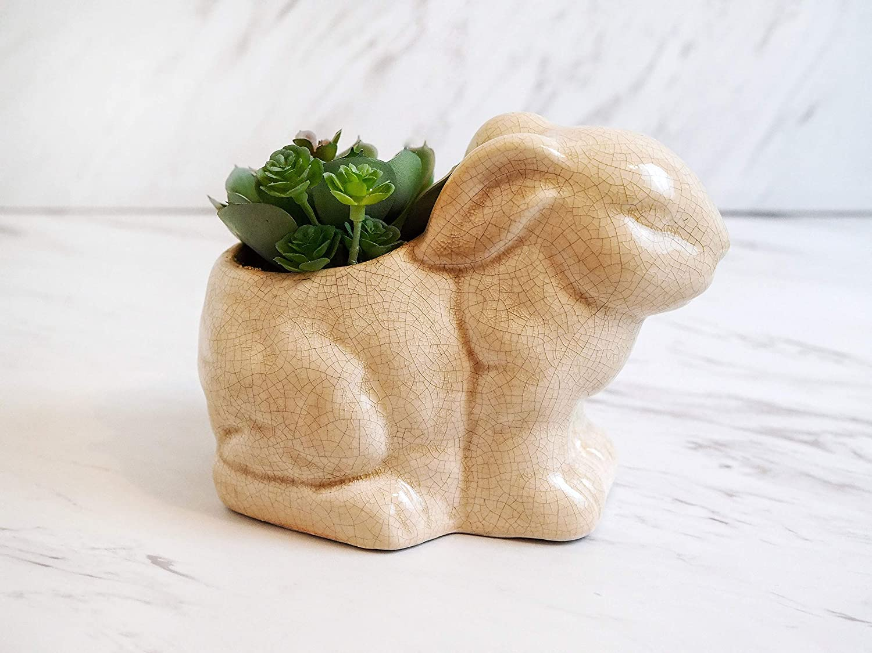Ceramic Rabbit Bunny Statue Pot Fake Plants Succulent Room Decor for Bathroom, Home, Desk, Kitchen, Rustic Artificial Office