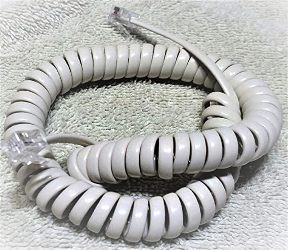 Ivory 15 Ft Generic Curly Coil Handset Phone Cord Receiver Telephone Spiral NEW
