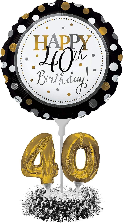 Creative Converting Happy 40th Birthday Balloon Centerpiece Black and Gold for Milestone Birthday - 317306