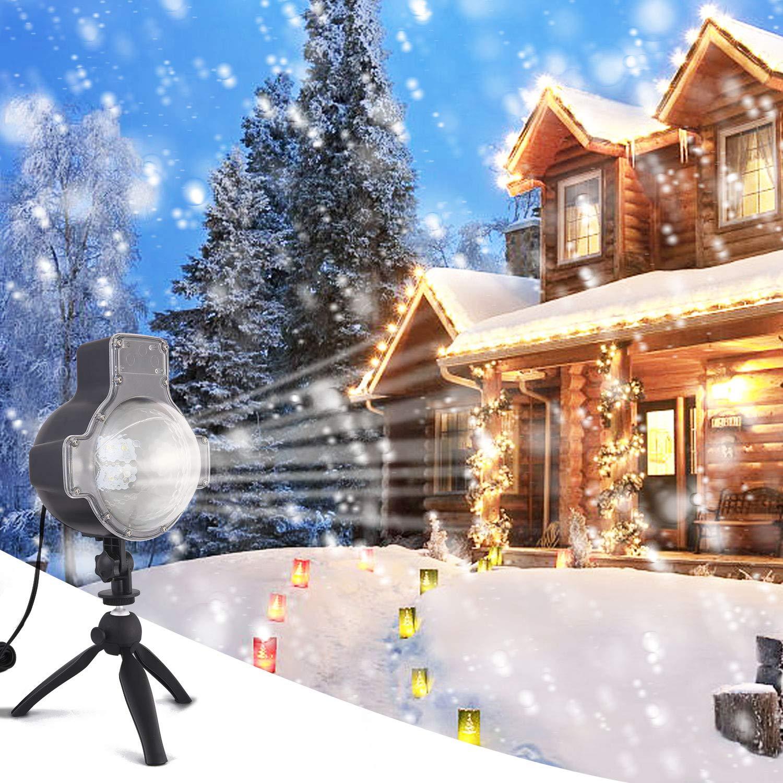Zeonetak LED Schneeflocken Projektionslampe, Spotbeleuchtung ...