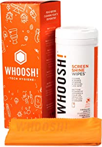 WHOOSH! Electronic Wipes,Screen Cleaner Wipes [70 Wipes]- for All Screens and Tech Devices ;Smartphones, iPads, Eyeglasses, e-Readers, Touchscreen & TVs (70 Ct W/Big Cloth)