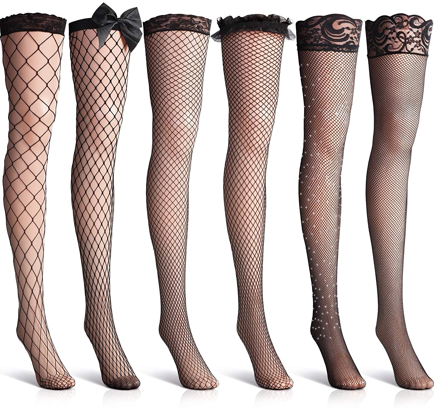 6 Pairs Fishnet Thigh High Stocking Black Lace Top Over the Knee Stocking Rhinestone Bow: Clothing