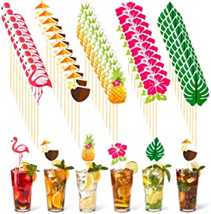 Yungyan 100 Pieces Hawaiian Luau Cocktail Picks 4.7 Inch Topical Hawaiian Party Toothpicks with Flamingo Pineapple Hibiscus Flowers Palm Leaves Coconut Shapesfor Summer Party Drink Dessert Supplies