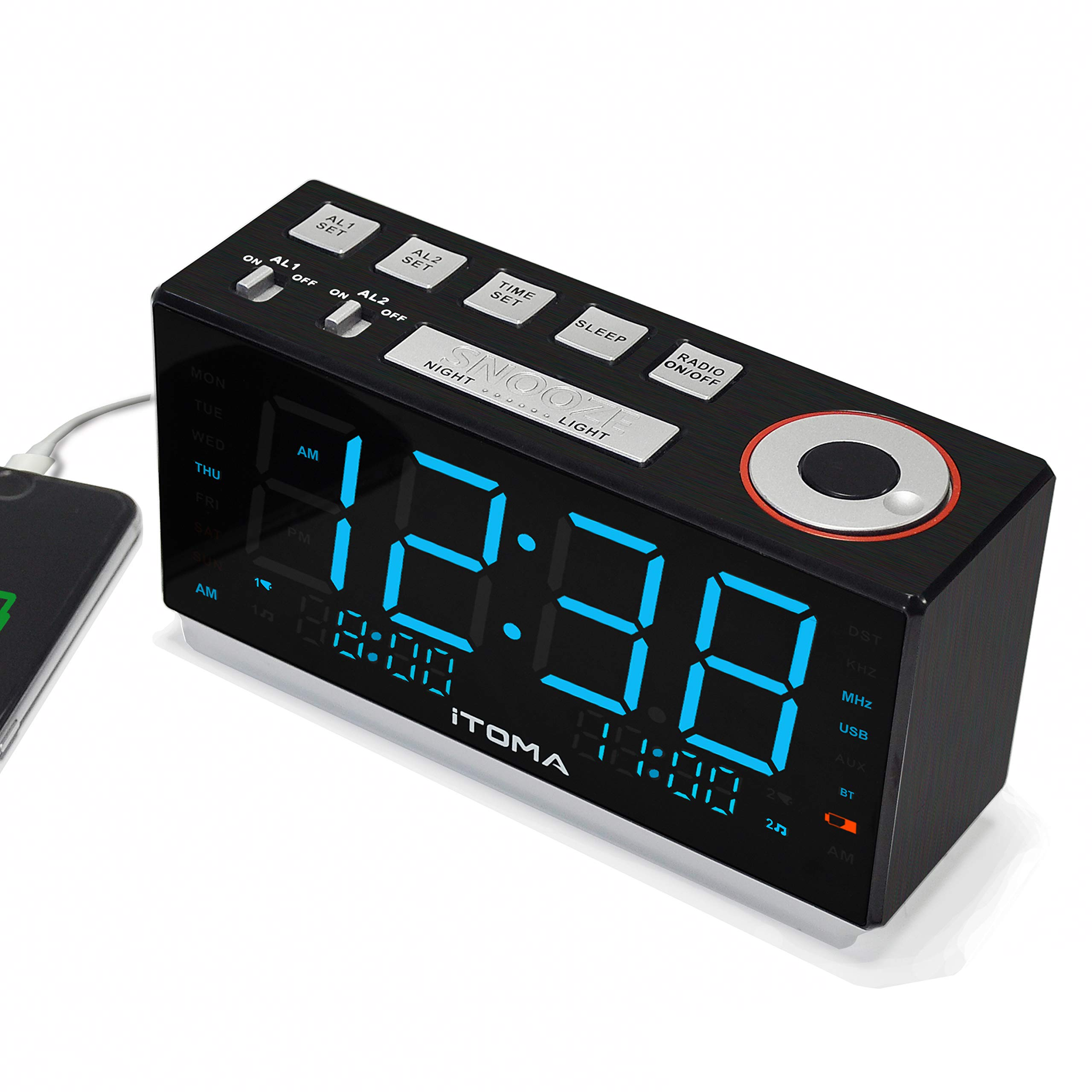 iTOMA CKS703 1,8-Zoll-LED-Anzeige 4-Stufen-Dimmer wei/ßes Rauschen USB-Ladeanschluss Sicherungsbatterie iTOMA FM Digital Radiowecker//Wecker mit Zwei Alarmen