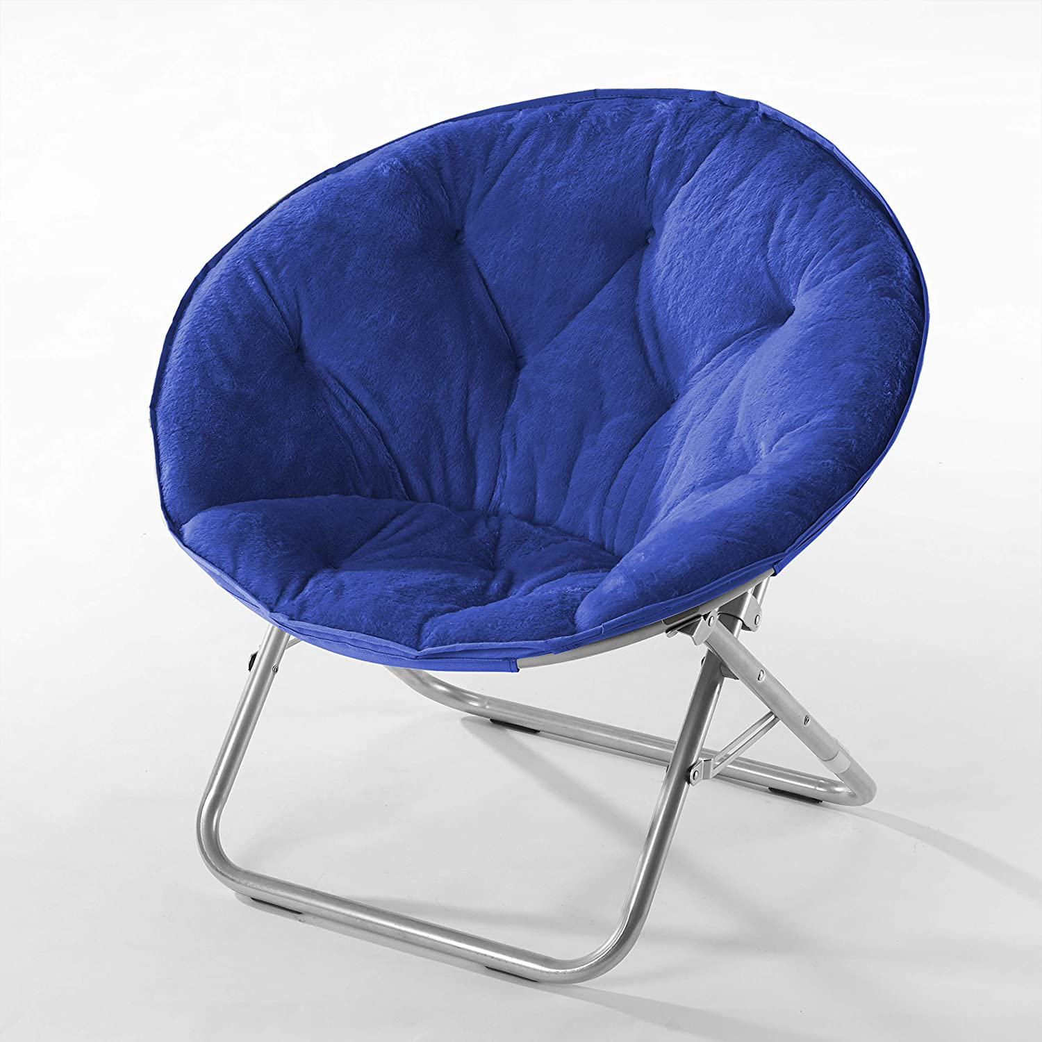 Urban Shop Faux Fur Saucer Chair with Metal Frame, One Size, Blue