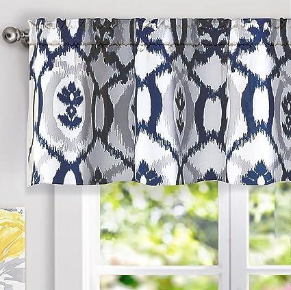 DriftAway Evelyn Ikat Fleur/Floral Pattern Window Curtain Valance,  52u0026quot;x18u0026quot;(
