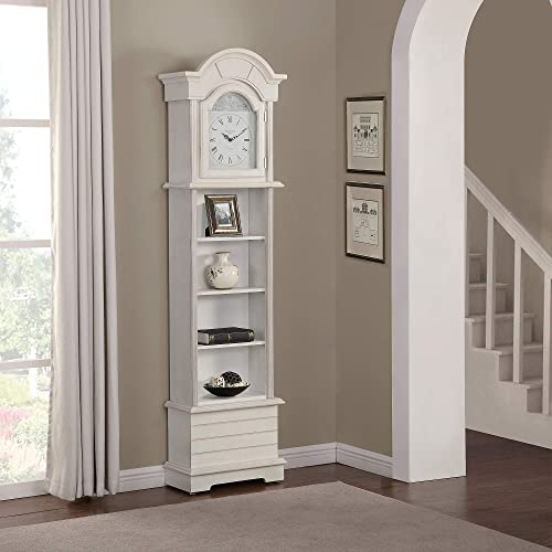 FirsTime Co. Shiplap Grandfather Wall Clock, 72 x 19 x 9 , Shabby White