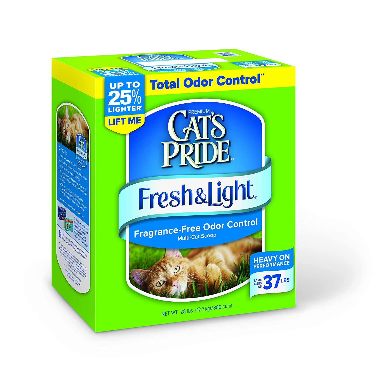 Cat's Pride Fresh and Light Premium Fragrance Free Scoopable Cat Litter box, 28-Pound by Cat's Pride