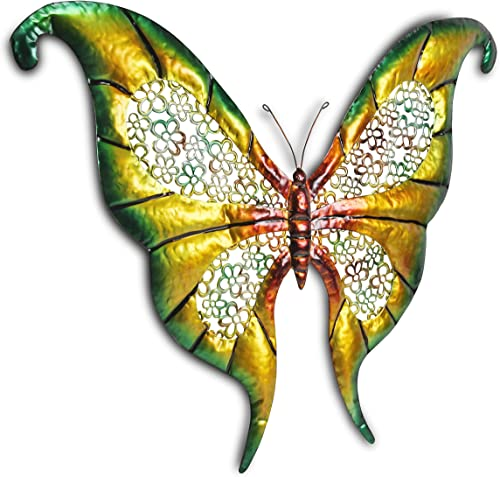 Cheung s FP-2584 metal 32 inch wide butterfly, green yellow and red tones