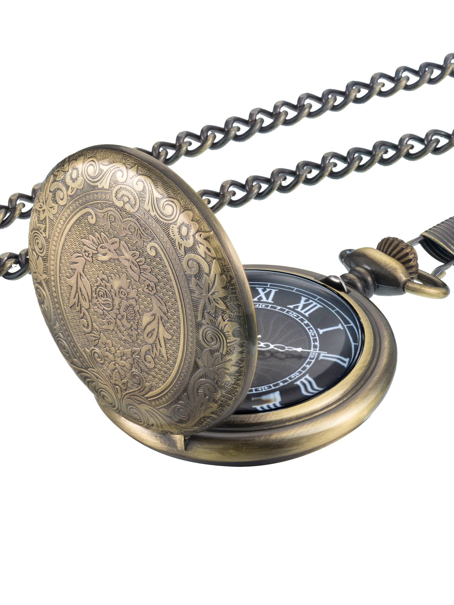 Hicarer Quartz Pocket Watch for Men with Black Dial and Chain (Bronze)