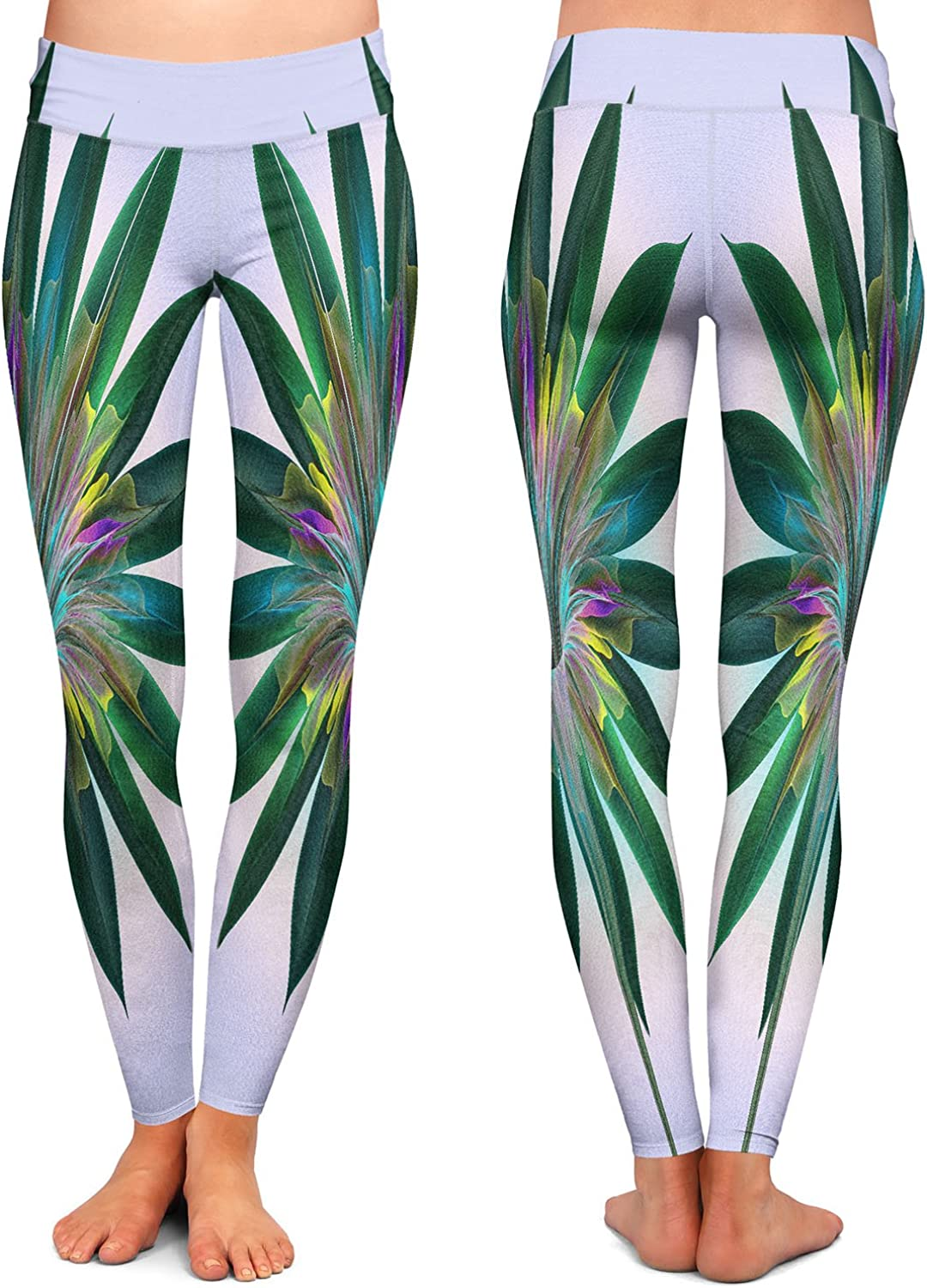 Floral Bliss Violet Green Athletic Yoga Leggings from DiaNoche Designs by Pam Amos