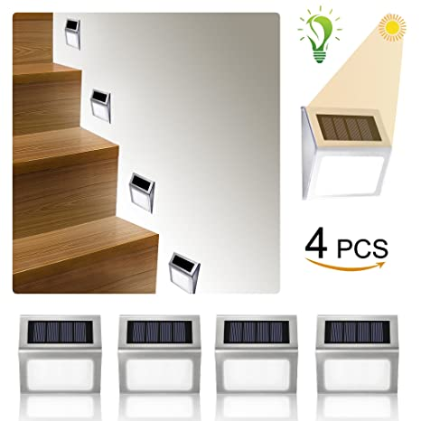 Solar Lights Outdoor Alture 3 LED Solar Stair Light Outdoor Waterproof LED Solar  Powered Step Lighting