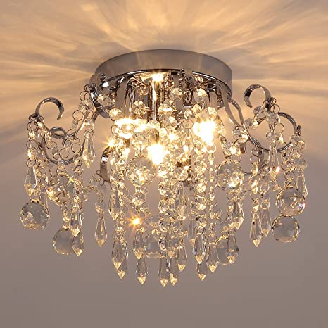 Amazon Com Q S Small Crystal Chandelier Flush Mount Ceiling Light 3 Lights Modern Chrome Iron Raindrop Crystal Ceiling Fixture For Bedroom Hallway Closet Entryway Stairs Home Improvement