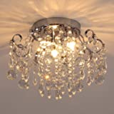 Q&S Small Crystal Chandelier Flush Mount Ceiling Light 3 Lights Modern Chrome Iron Raindrop Crystal Ceiling Fixture for Bedro