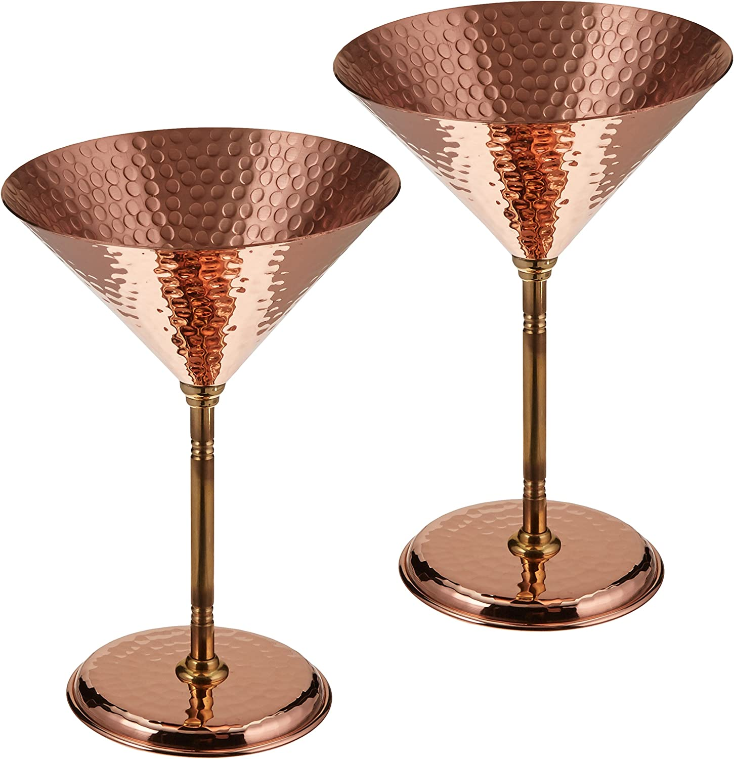 2 X DEMMEX 2017 Gorgeous Hammered Copper Martini Goblets Glasses 10 Oz Unlined Copper