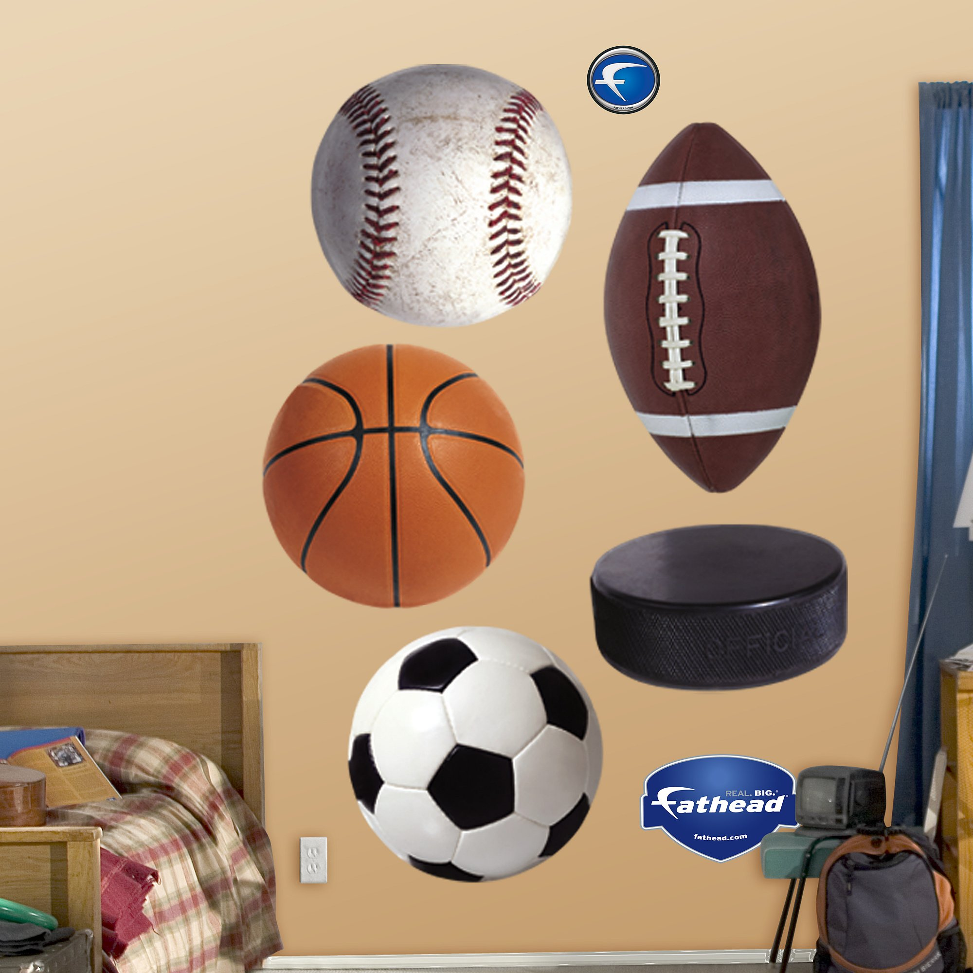 FATHEAD Assorted Sports Ball Graphics Graphic Wall Décor by FATHEAD