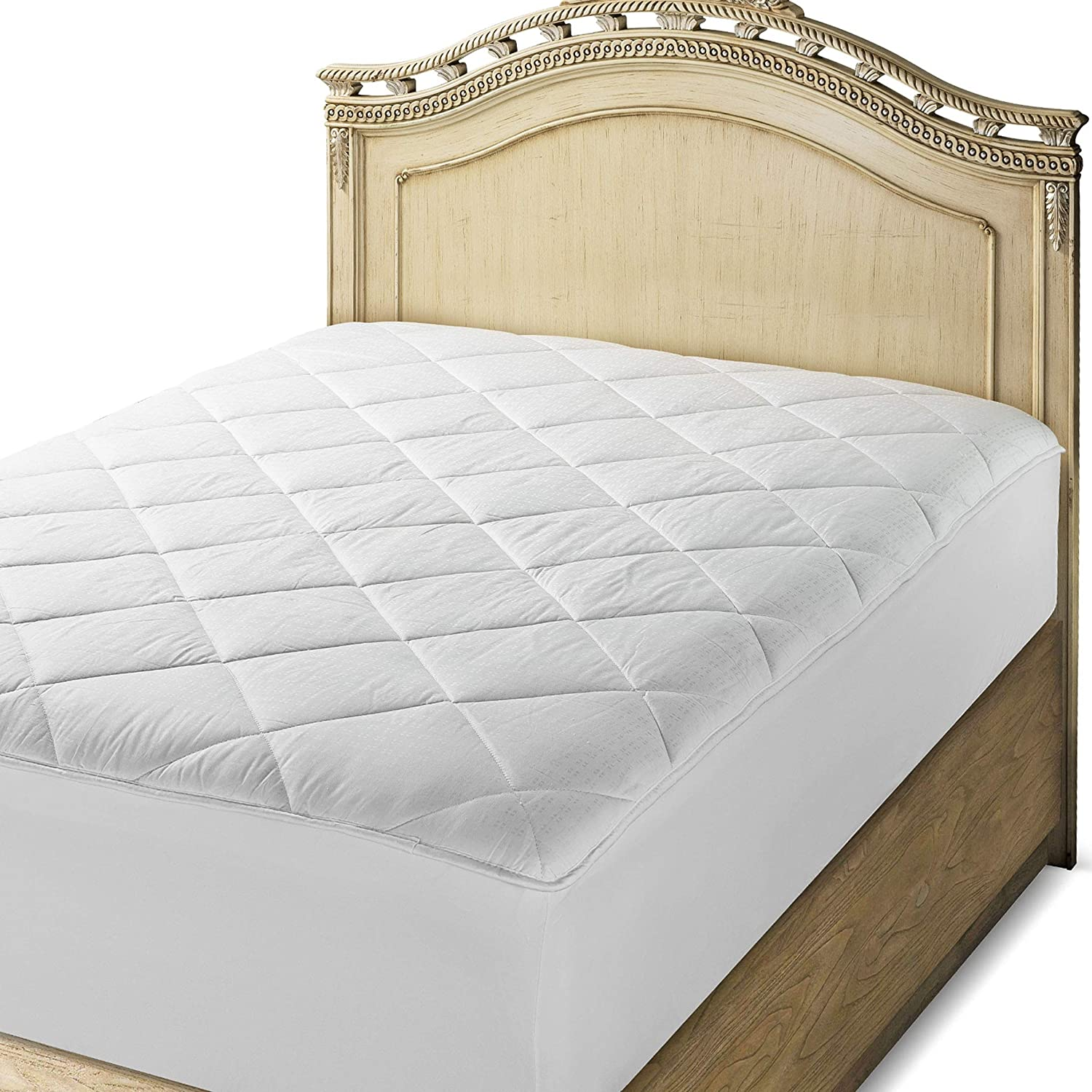 cheap for discount 1992f 102cf Amazon.com: Luxurious - Fitted Down Alternative Mattress Pad ...