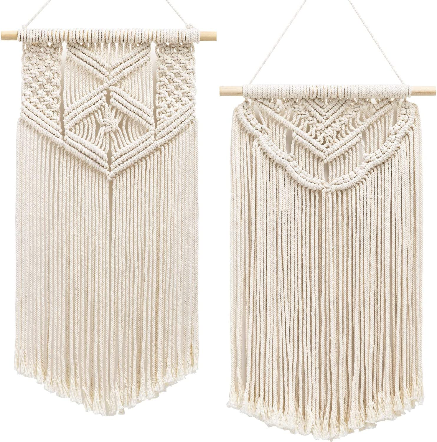 "Mkono 2 Pcs Macrame Wall Hanging Art Woven Wall Decor Boho Chic Home Decoration for Apartment Bedroom Living Room Gallery, 22"" L x 13"" W and 24"" L x 13"" W"
