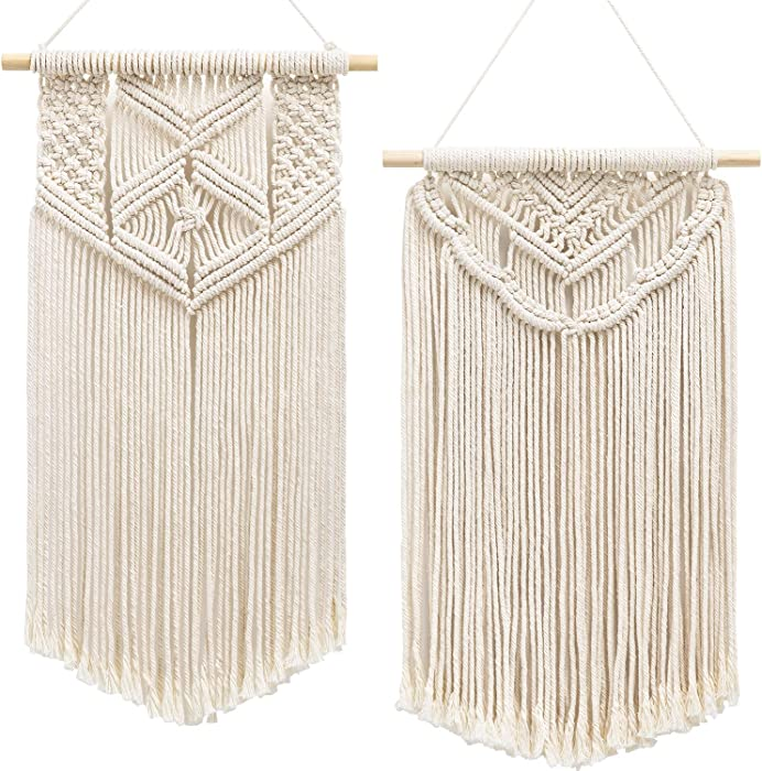 """Mkono 2 Pcs Macrame Wall Hanging Art Woven Wall Decor Boho Chic Home Decoration for Apartment Bedroom Living Room Gallery, 22"""" L x 13"""" W and 24"""" L x 13"""" W"""
