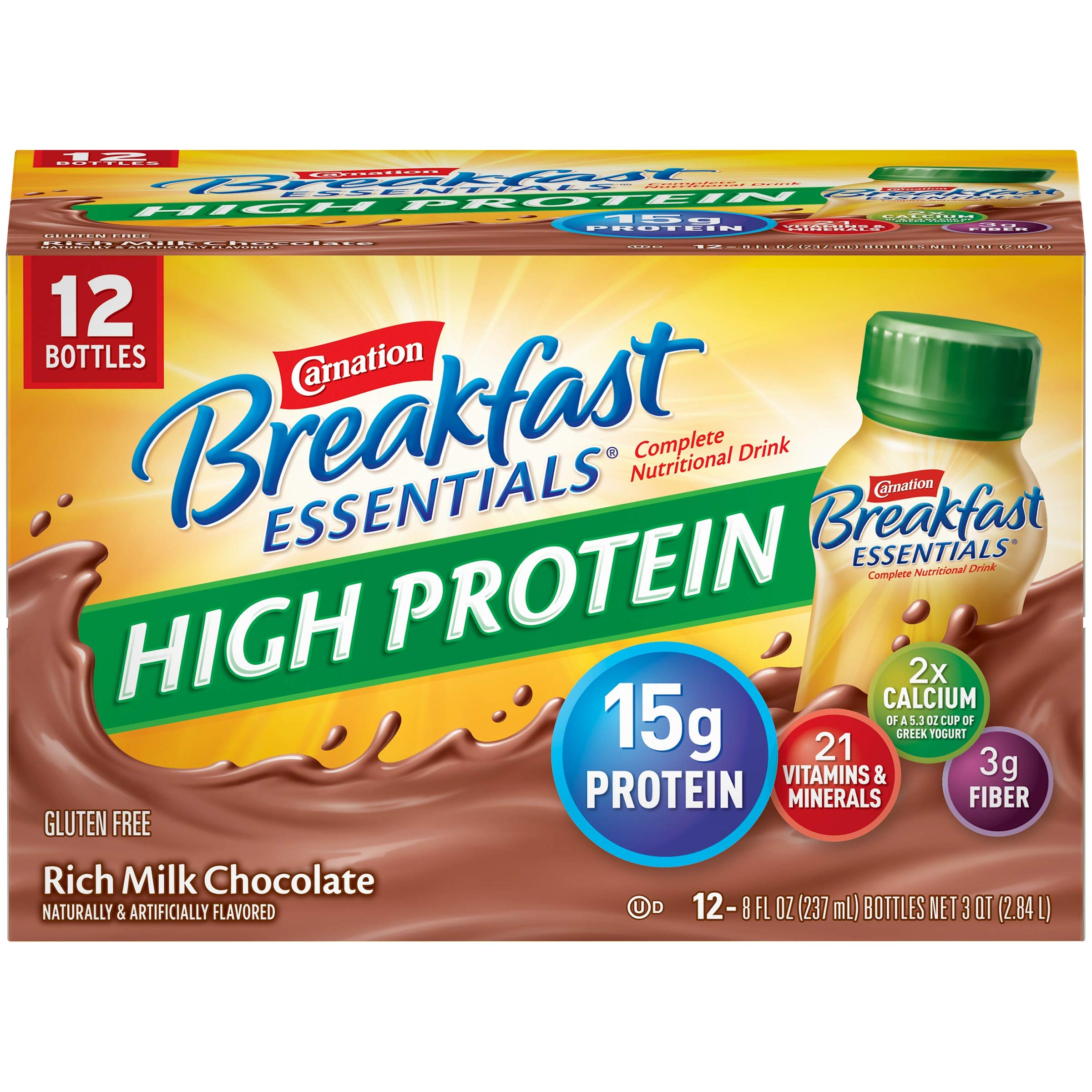 Carnation Breakfast Essentials High Protein Ready To Drink, Rich Milk Chocolate, 8 Fluid Ounce - Pack of 48 by Carnation