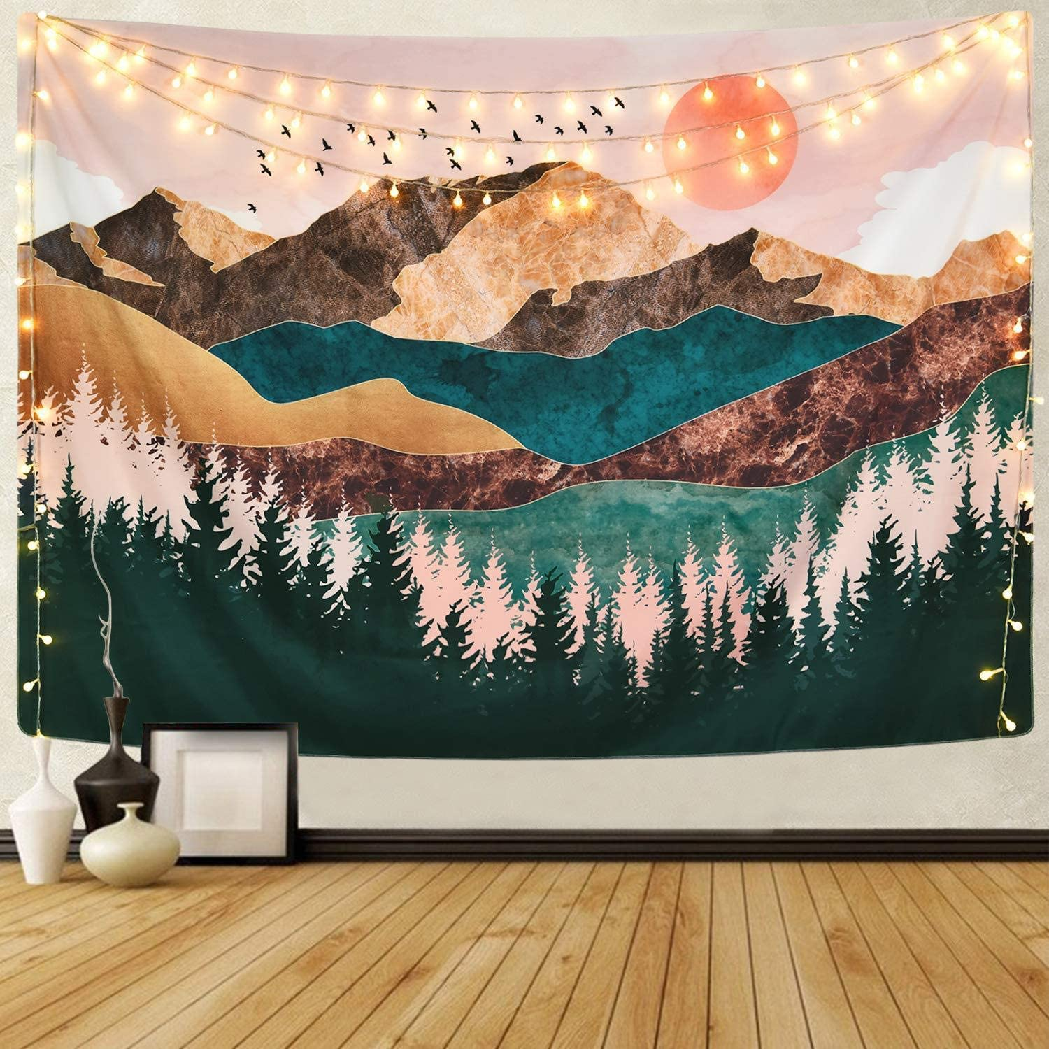 """DZH Enjoy Mountain Tapestry Wall Hanging Forest Tree Sunset Tapestry Nature Landscape Tapestry Home Decorations for Bedroom Living Room, Dorm, Art Home Decor (51.2"""" x 59.1"""")"""