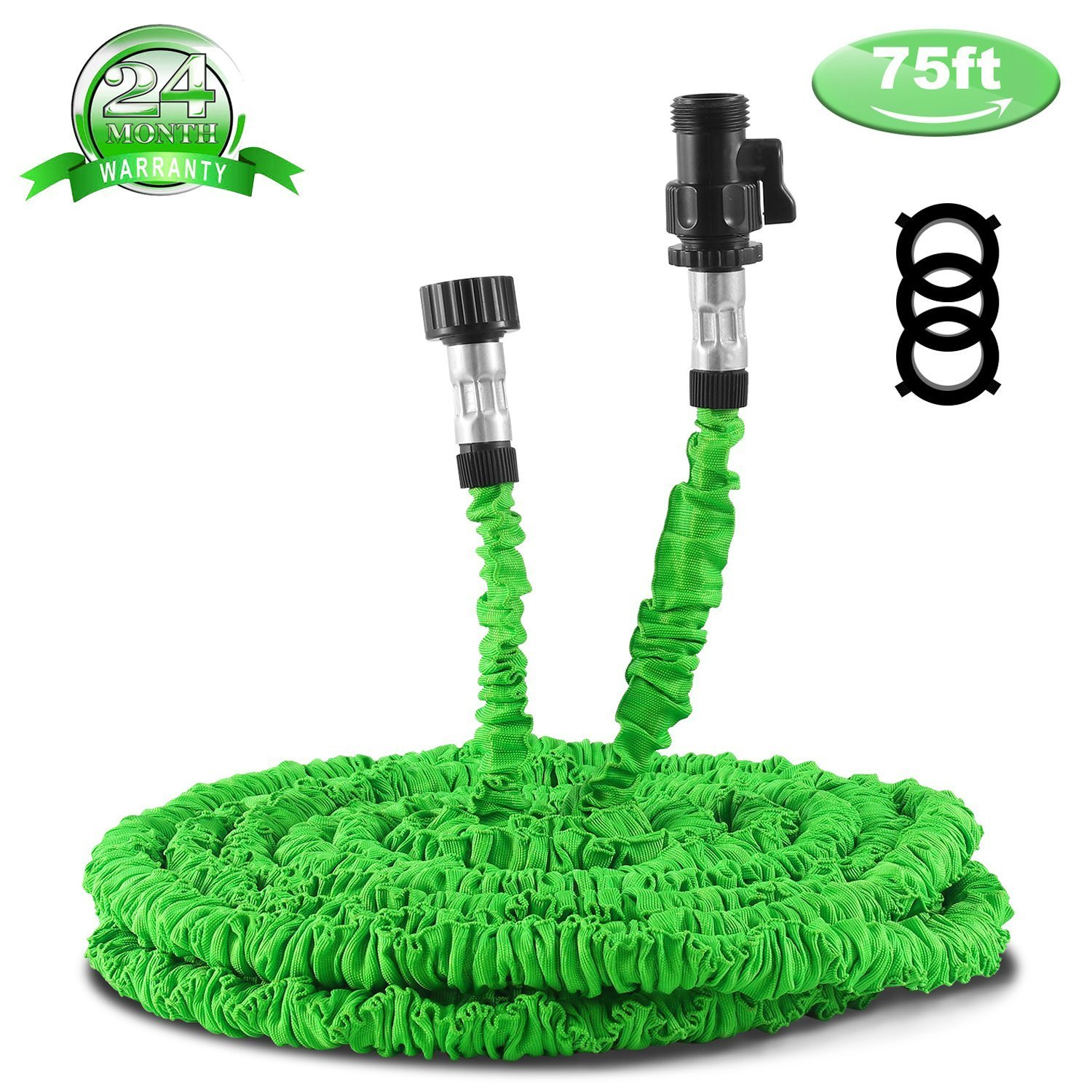 Fbest Garden Hose, Expandable Garden Hose, 75ft Expanding Garden Hose Lightweight Durable Heavy Duty Flexible Pressure Washer Water Hose for Car Wash Cleaning Watering Lawn Garden Plants Green